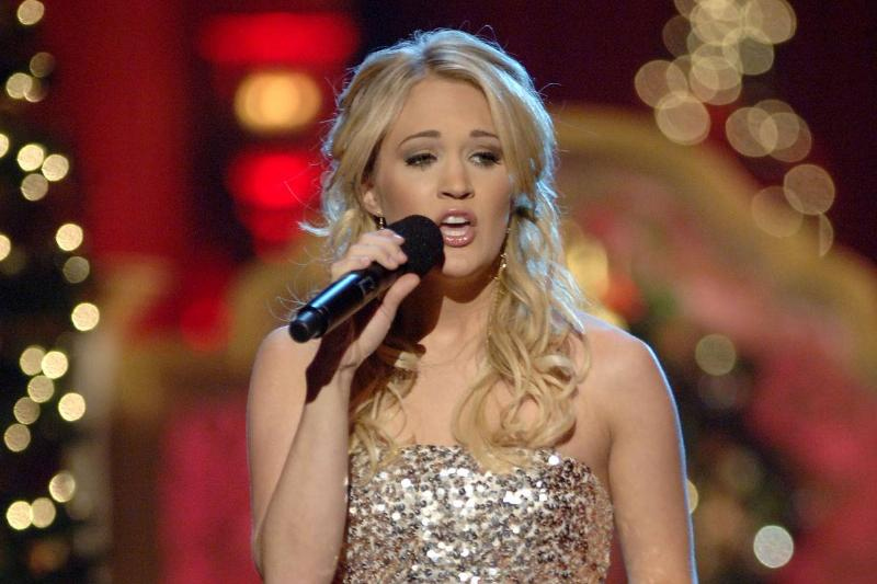 Carrie Underwood sings during a Christmas performance.