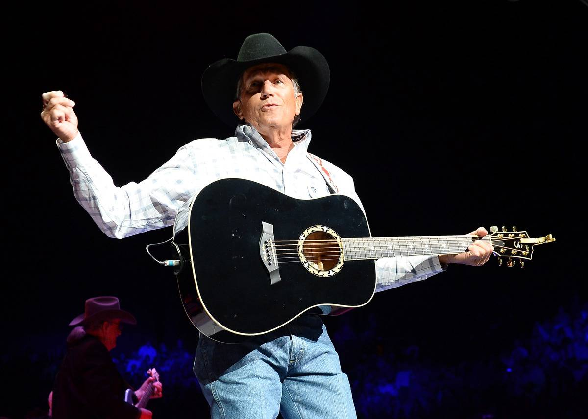 George Strait performs during a concert.
