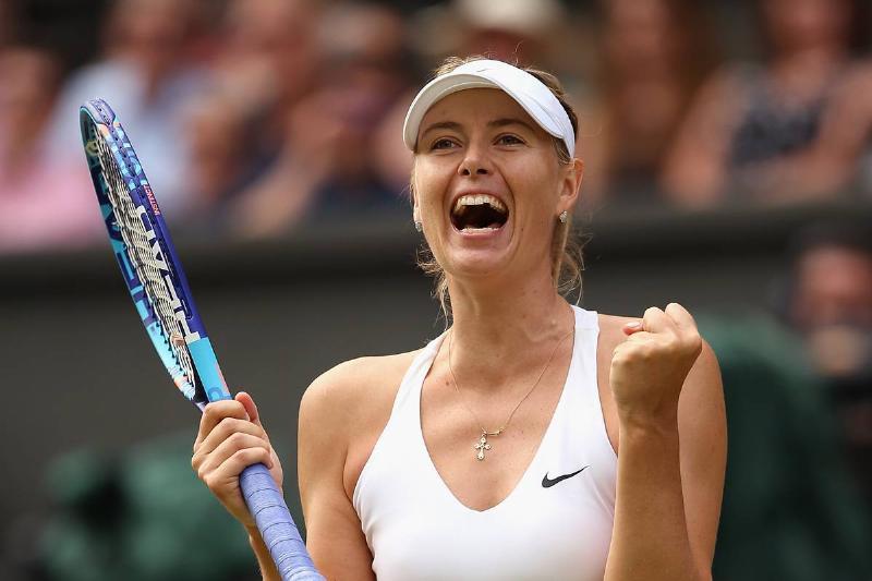 Maria Sharapova celebrates winning a match in 2015.