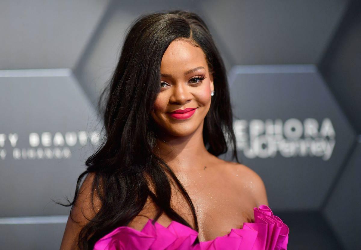 Rihanna attends an event for her makeup brand, Fenty Beauty.