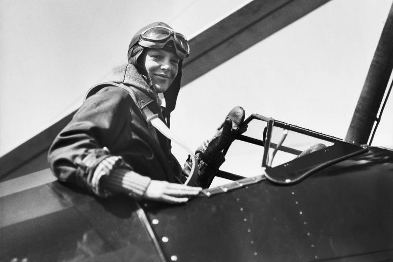 Amelia Earhart in Airplane Cockpit