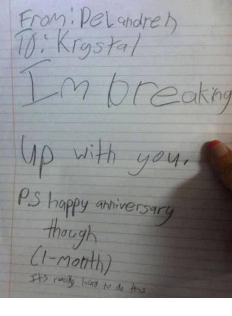 anniversary break up note