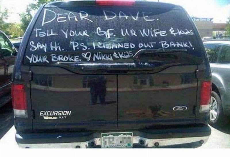 dear dave on the car
