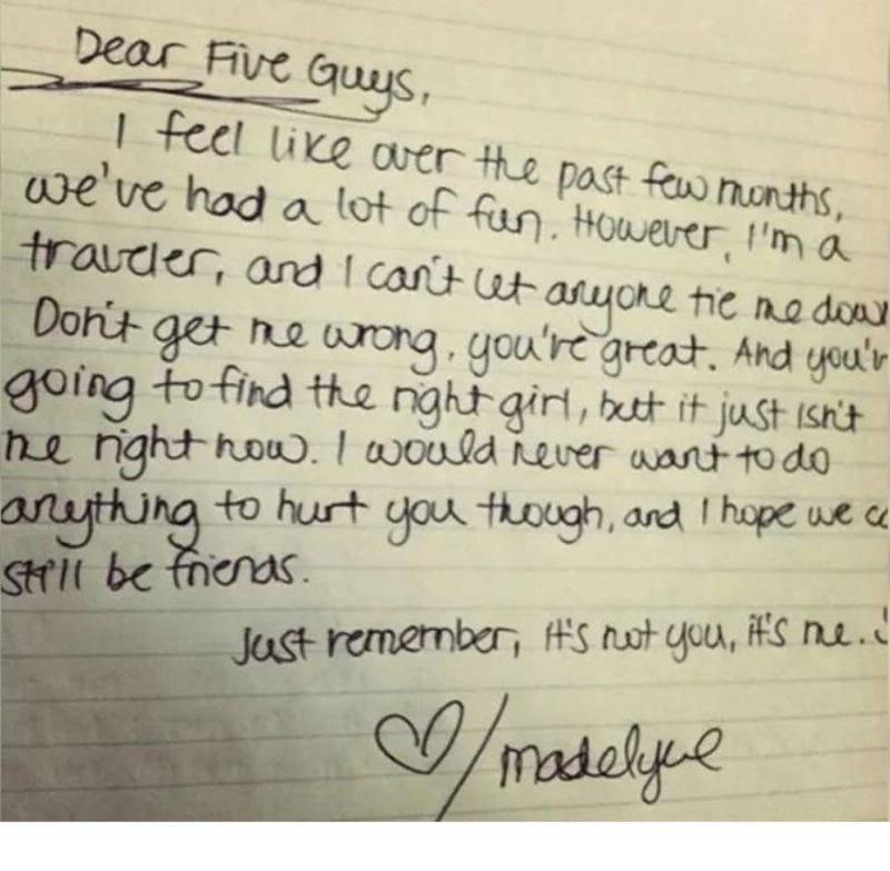five guys break up letter