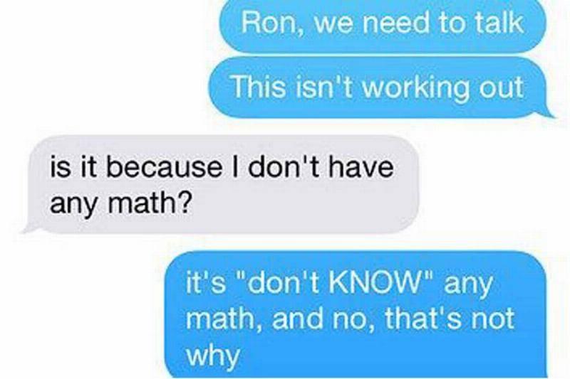 no math skills for him