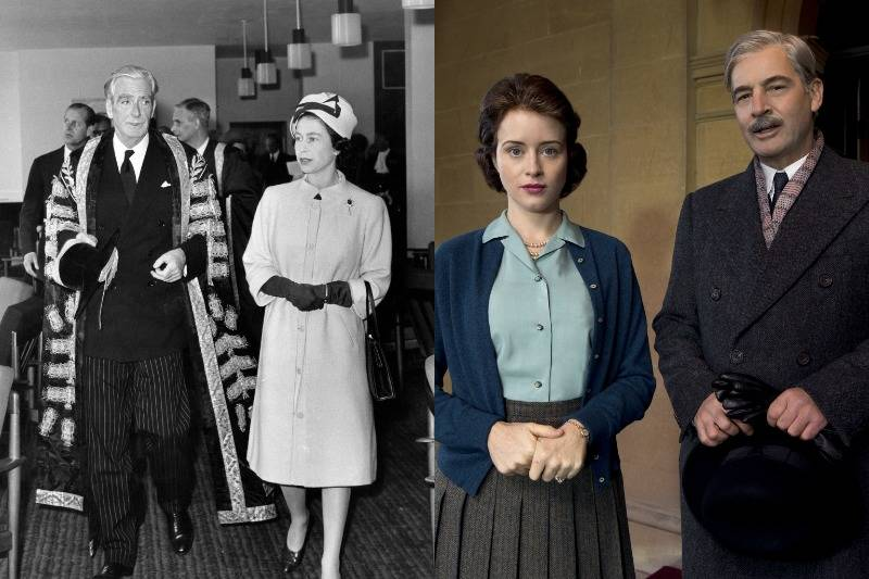 prime minister anthony eden and the queen in real life and on screen
