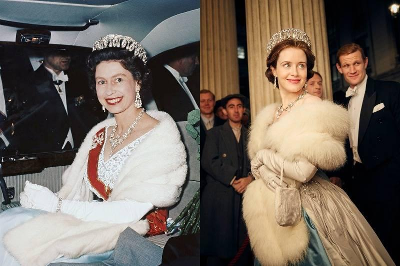 the queen in a dress and fur