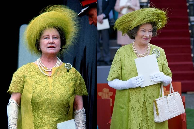 the queen mother in a bright green dress