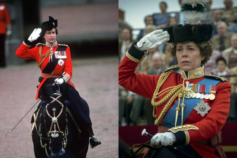 queen on her horse at trooping the colour ceremony