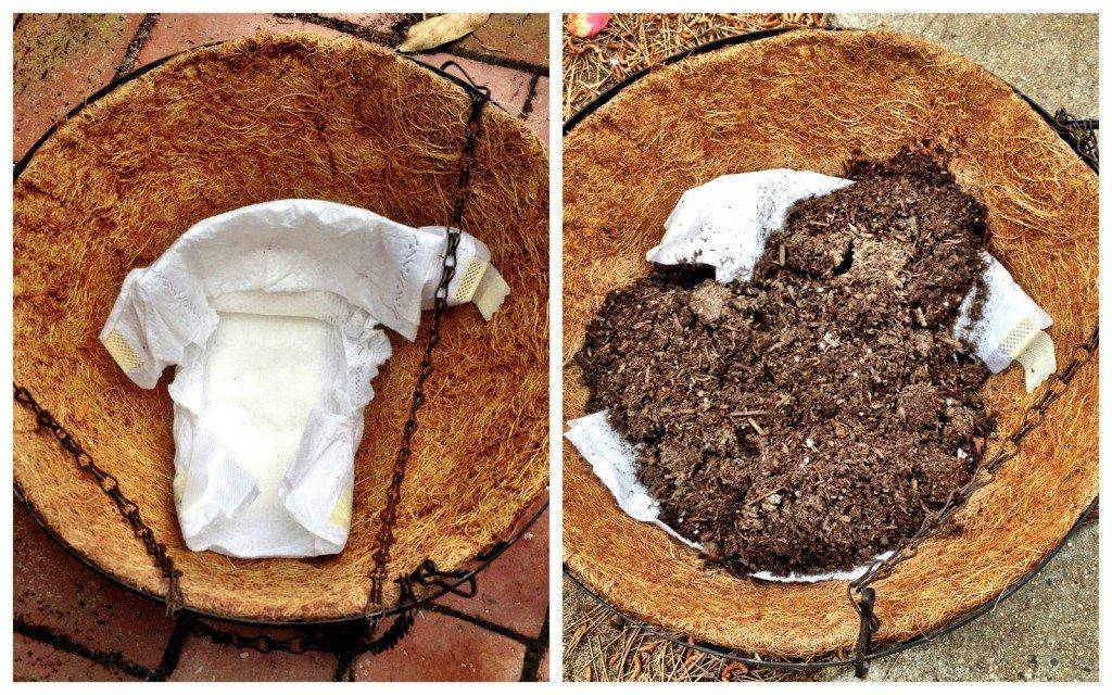 Put Diapers At The Bottom Of Your Potted Plants