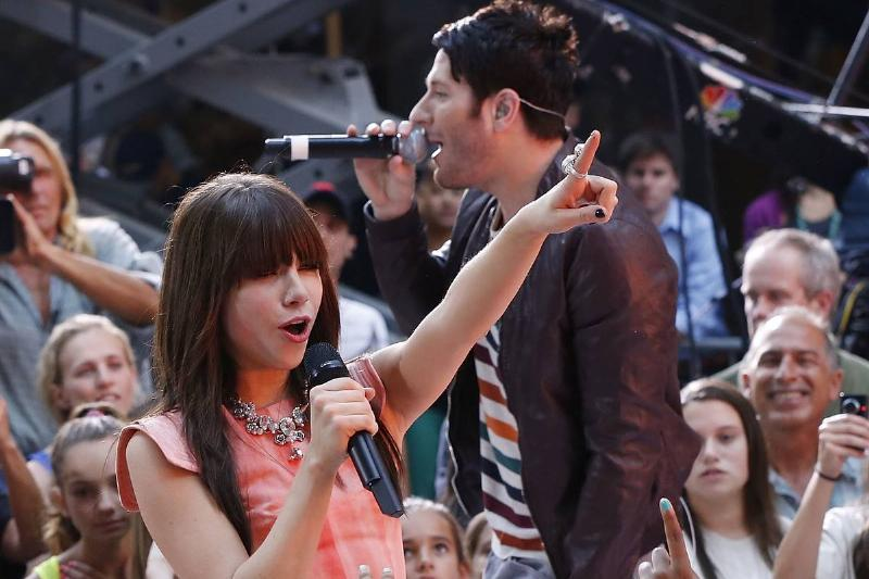 """Adam Young of Owl City and Carly Rae Jepsen perform on NBC's """"Today"""" in 2012."""