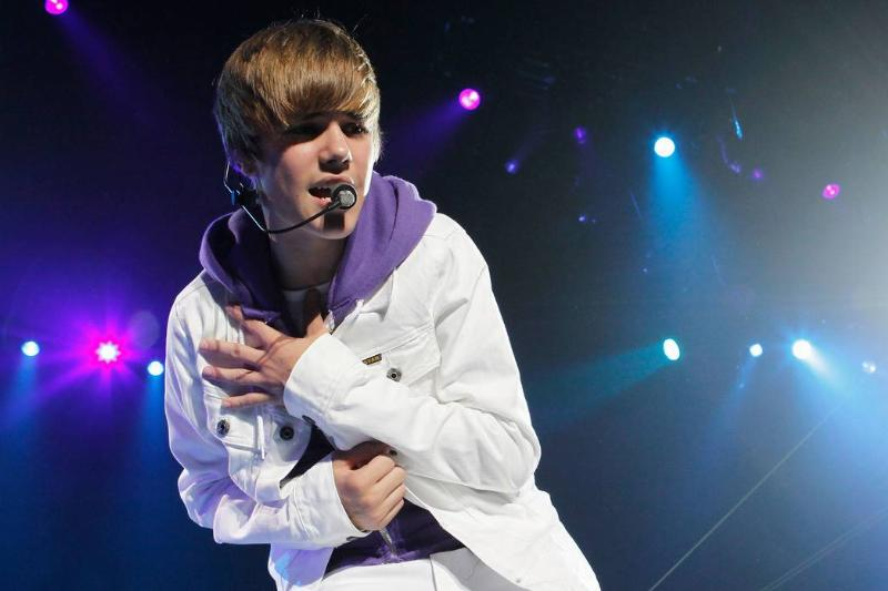 Justin Bieber performs in New Jersey in 2010.