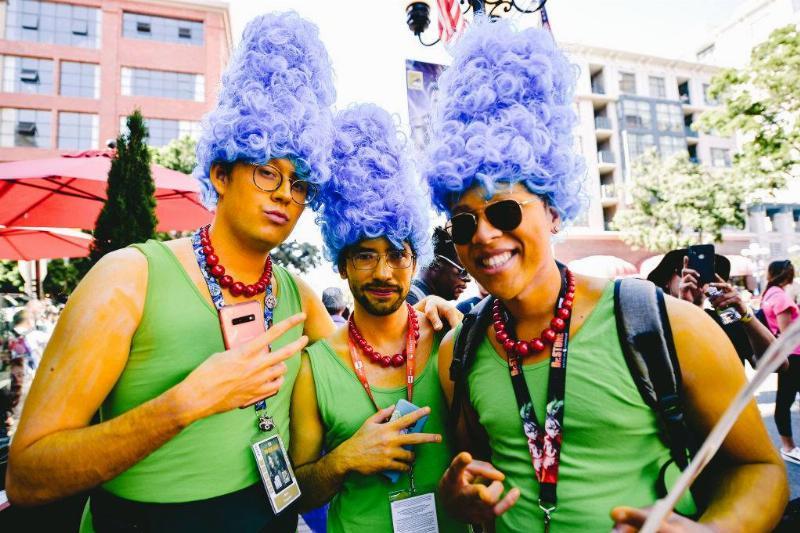 three men dressed up as marge simpson