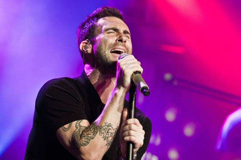 Maroon 5 performs at a private concert in Paris in 2012.