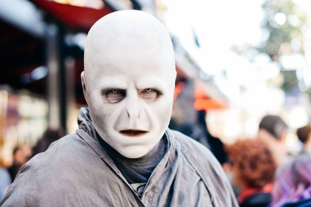 A cosplayer dressed as Lord Voldemort from Harry Potter