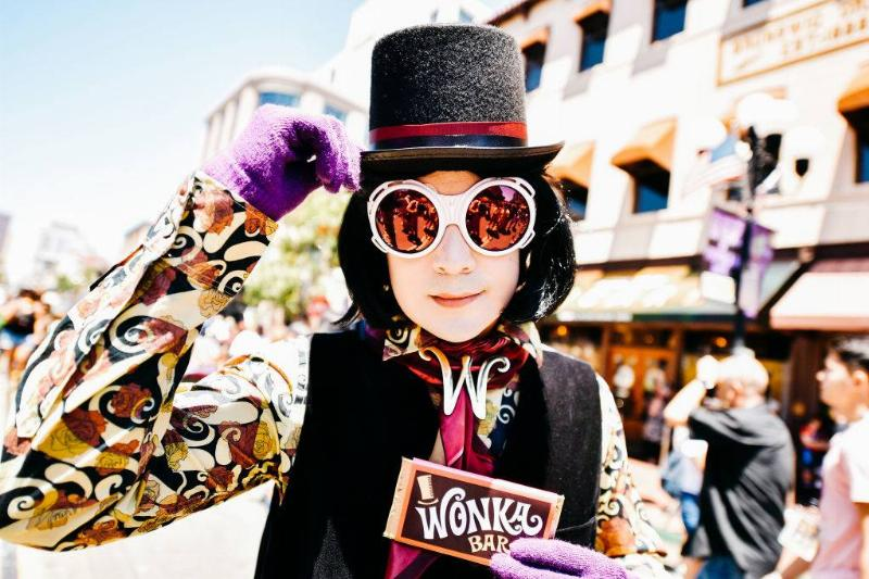 person dressed as willy wonka