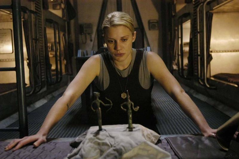 Katee Sackhoff in a still from battlestar galactica