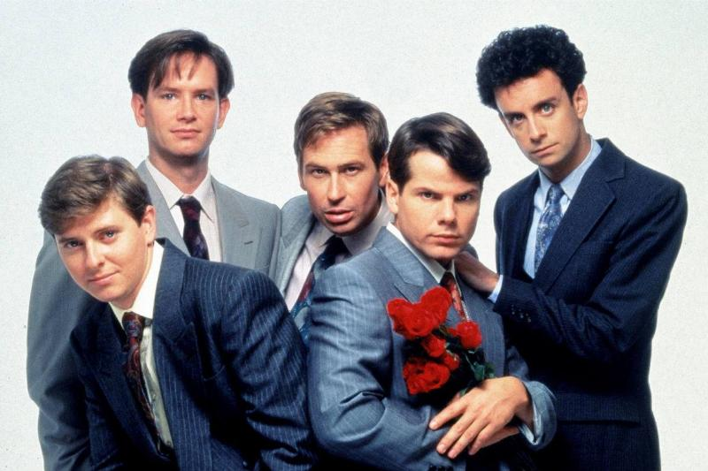 male cast of the kids in the hall in suits