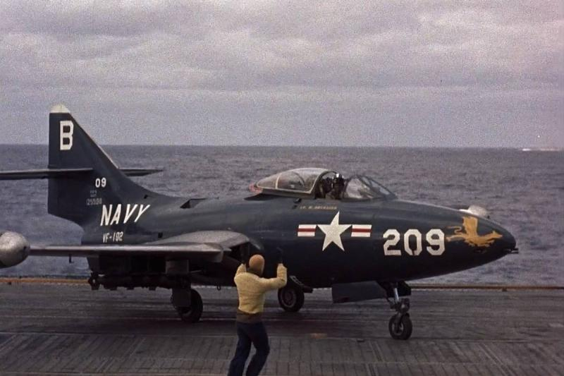 A pilot directs an American Navy fighter in The Bridges at Toko-Ri.