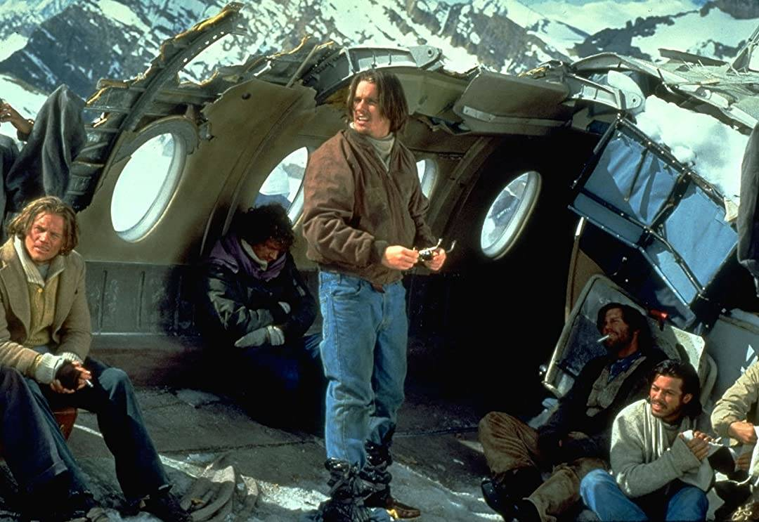 Crew members remain in the crashed plane in the movie Alive.