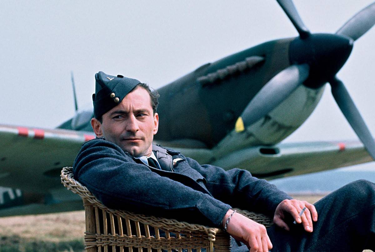 A pilot sits in front of an aircraft in the Czech film Dark Blue World.