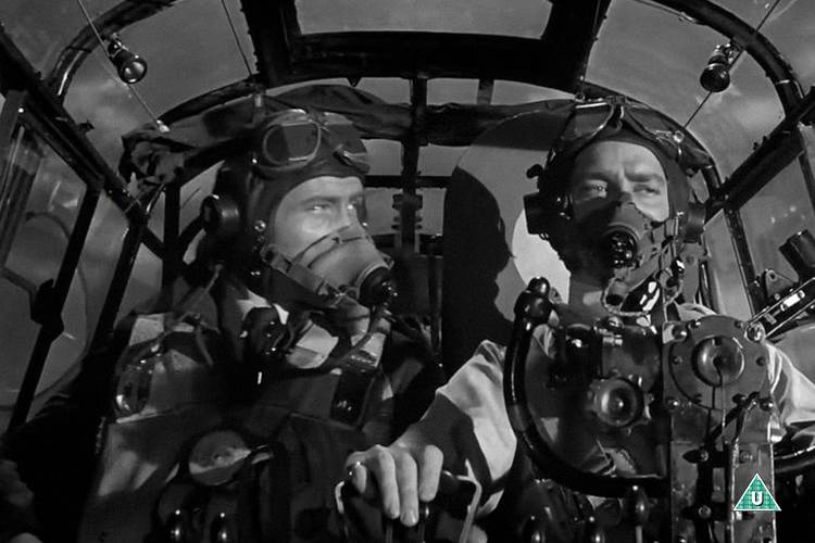 Two pilots are driving a bomber in the 1955 movie The Dam Busters.