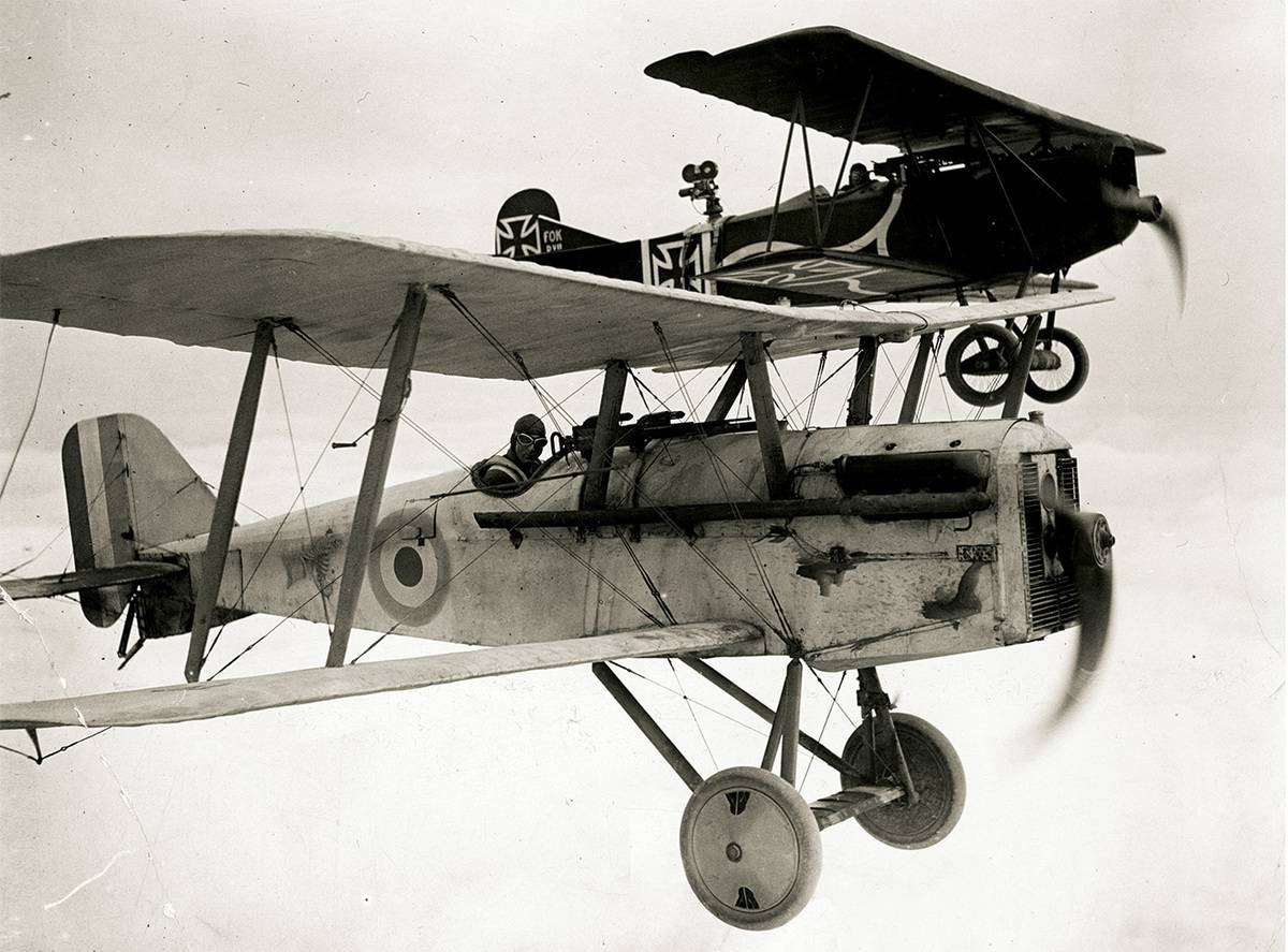 A WWI plane is seen flying in the 1930 movie Hell's Angels.
