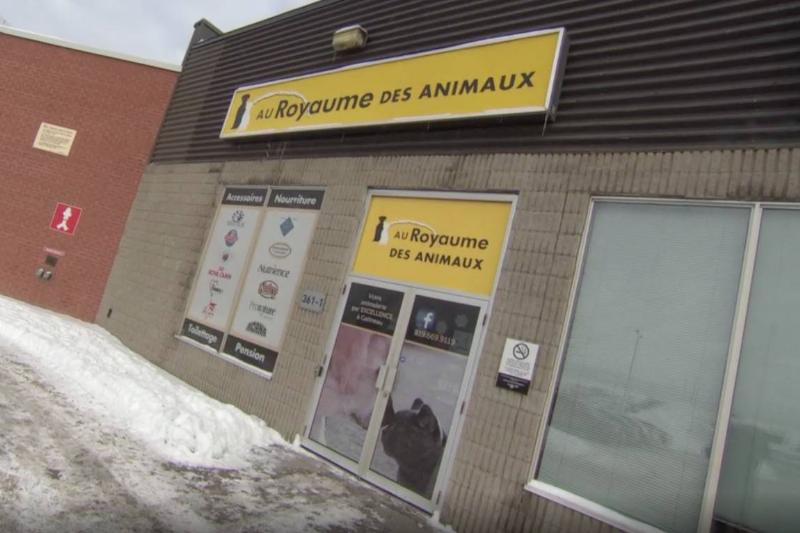 The store, Au Royaume des Animaux, is pictured from the front.
