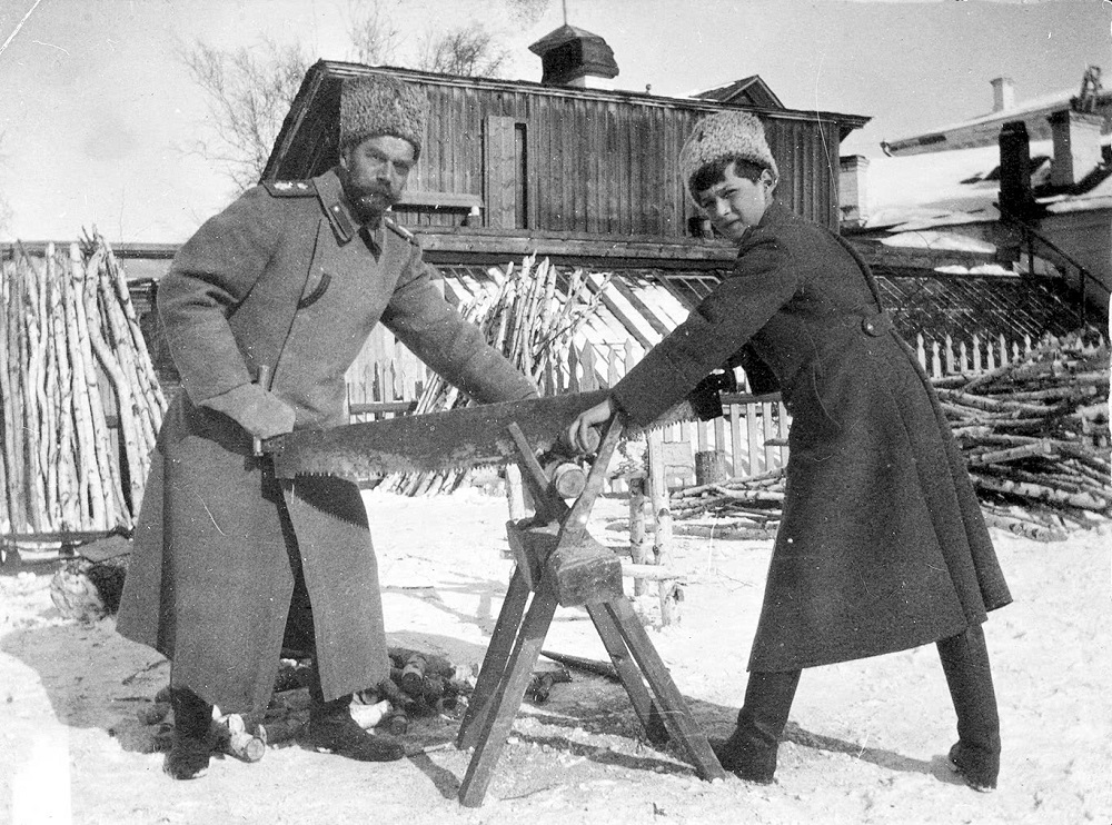 Alexi and Tsar Nicholas II Sawing Wood
