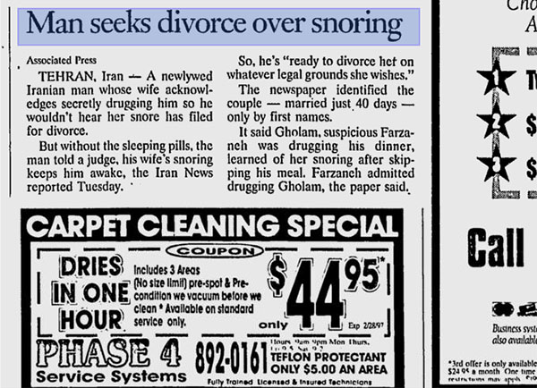 You Can Divorce Your Wife If She Snores
