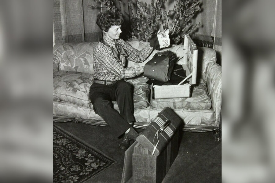 Amelia Earhart Packs For Her Trip Around The World