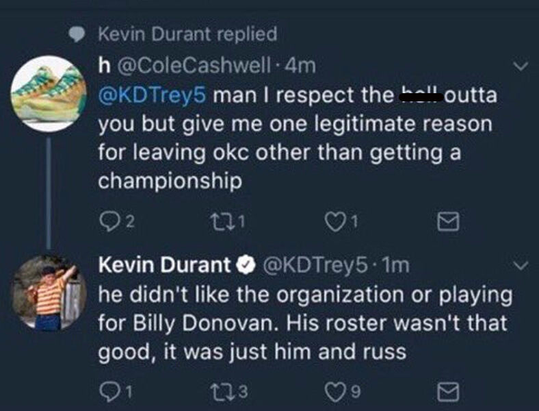 Durant Then Attacked His Former Team With An Unprovoked Tweet