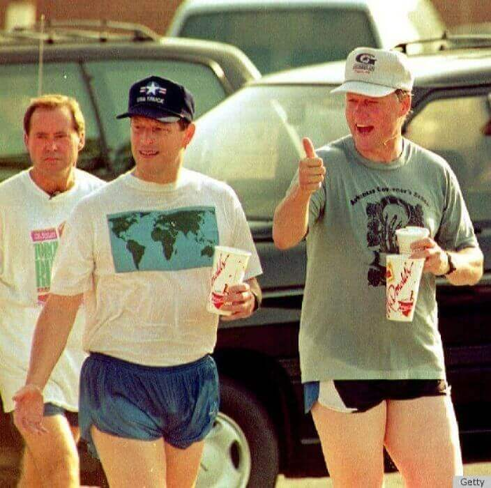 Clinton and Gore Running With Refreshments