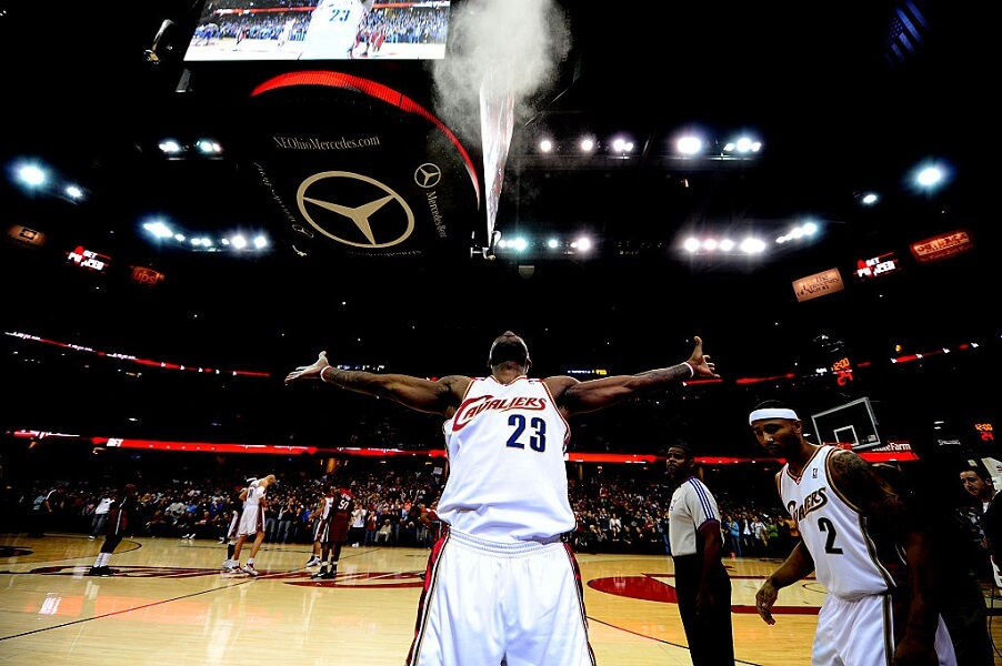 LeBron James signature pre-game ritual is a powder toss
