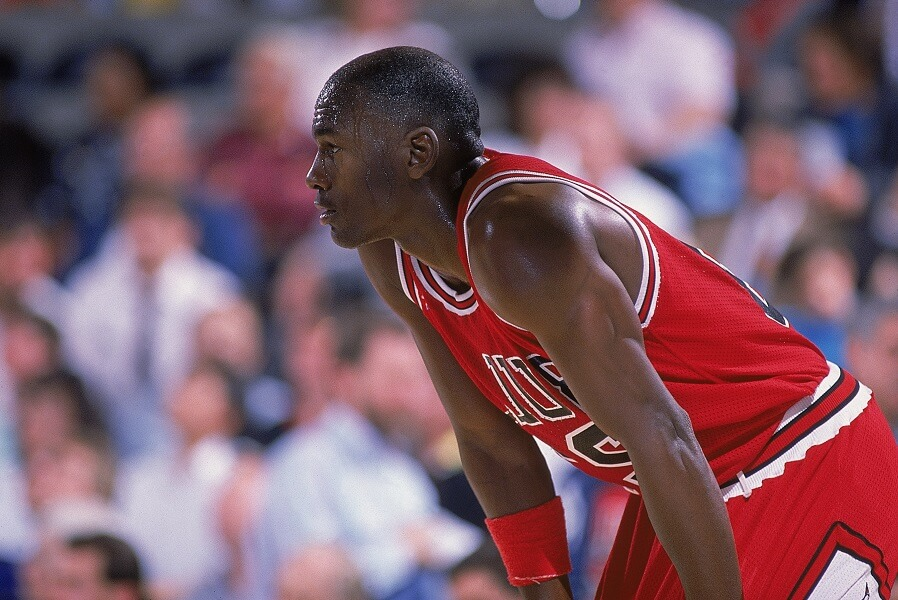 Michael Jordan sweats wearing two pairs of shorts while playing in the NBA