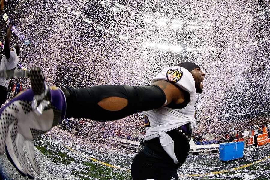 Ray Lewis used his energy to pump up his team, before and after winning