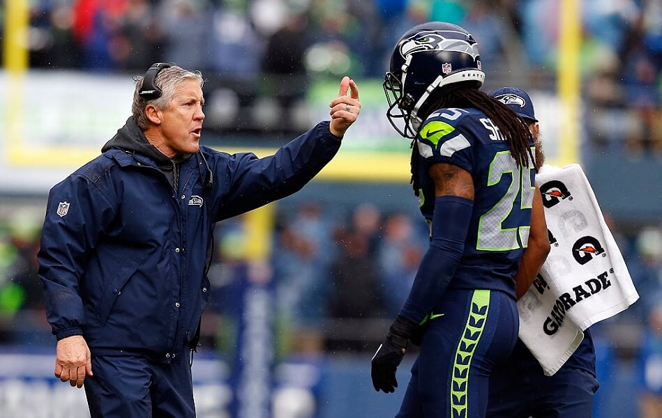 Richard Sherman gets yelled at by Pete Carroll after yelling at Kris Richard.
