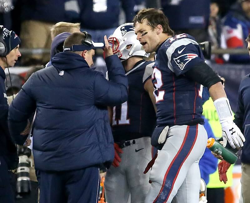 Tom Brady yelling at Josh McDaniels