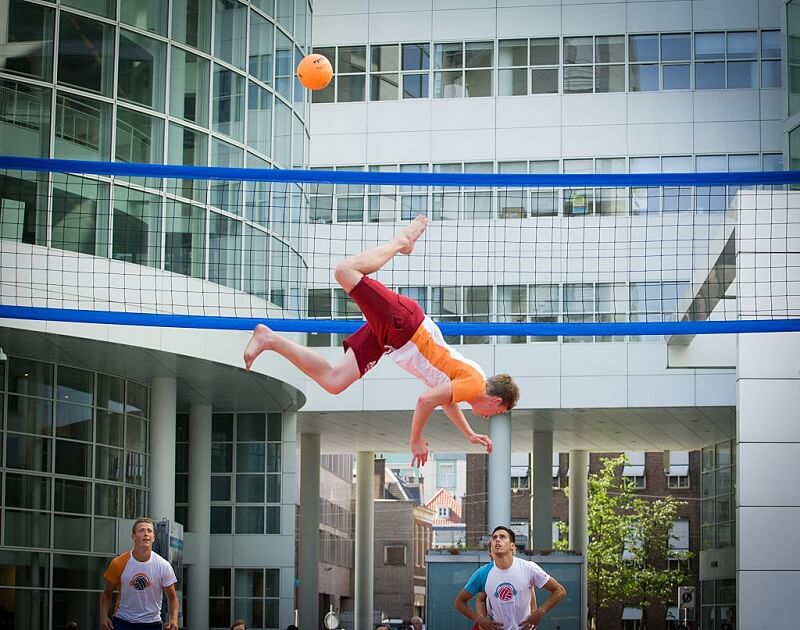 Bossaball is an extreme version of volleyball with trampolines