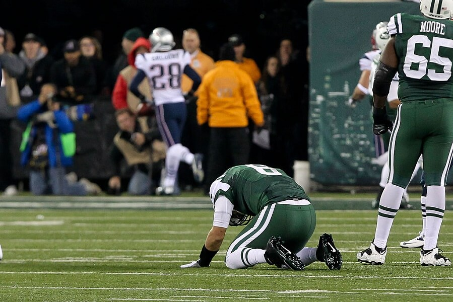 Mark Sanchez is sad directly after the butt fumble