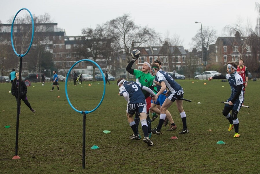 Quidditch has become a real sport that takes place on the ground with broomsticks
