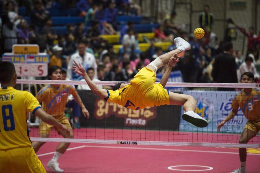 Sepak Takraw is indoor volleyball where you can only use your feet