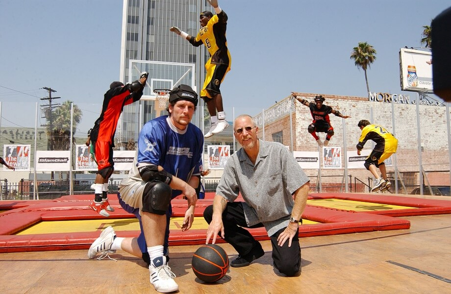 Slamball is a version of basketball with trampolines