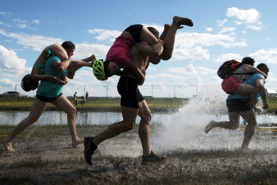 Wife carrying is a sport based on an old tale about stealing wives