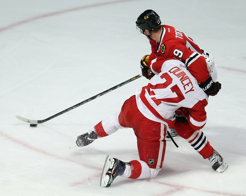The Red Wings and Blackhawks fight a lot when they play each other