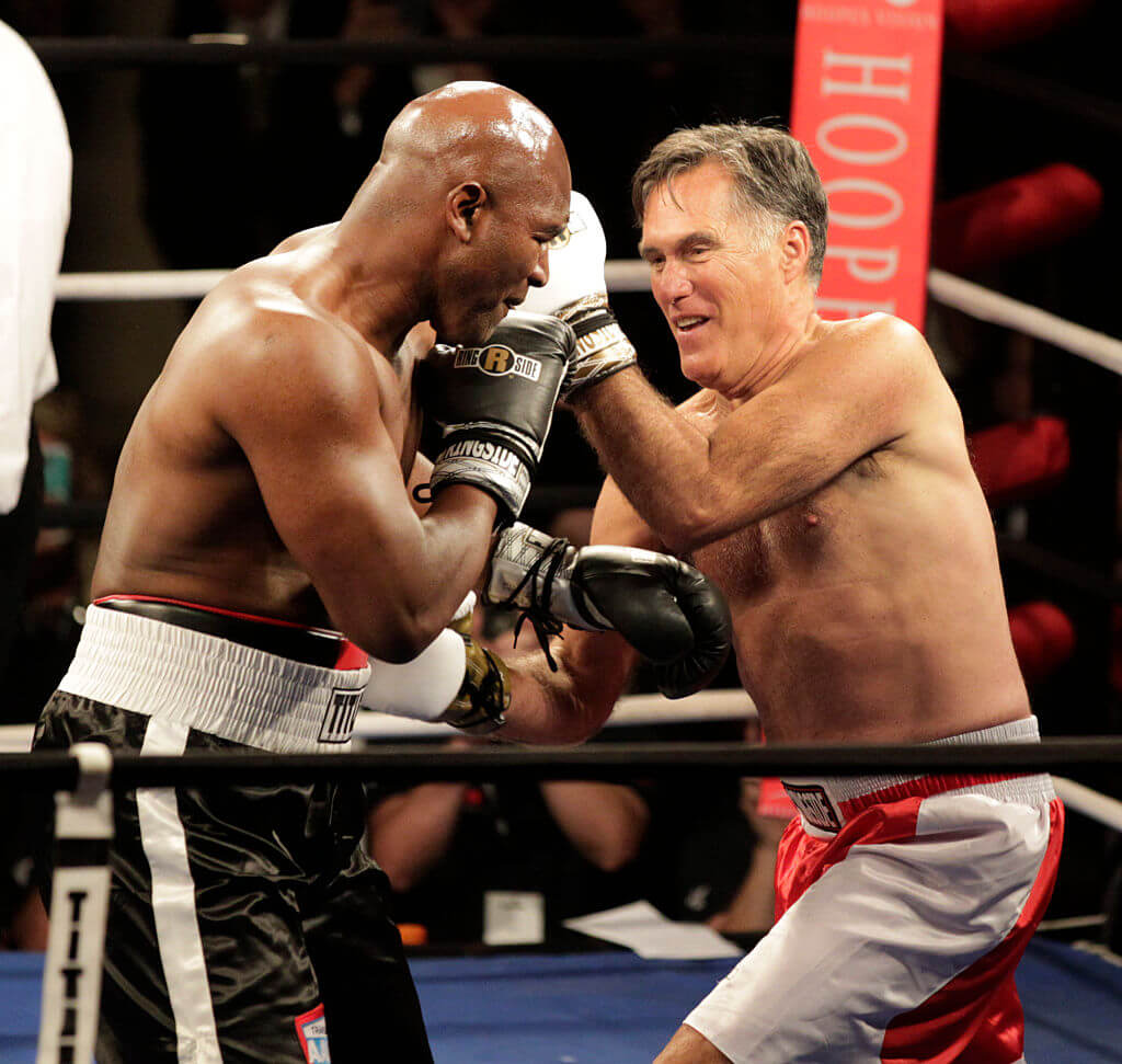 Mitt Romney Puts on the Gloves and Goes Head to Head with Holyfield